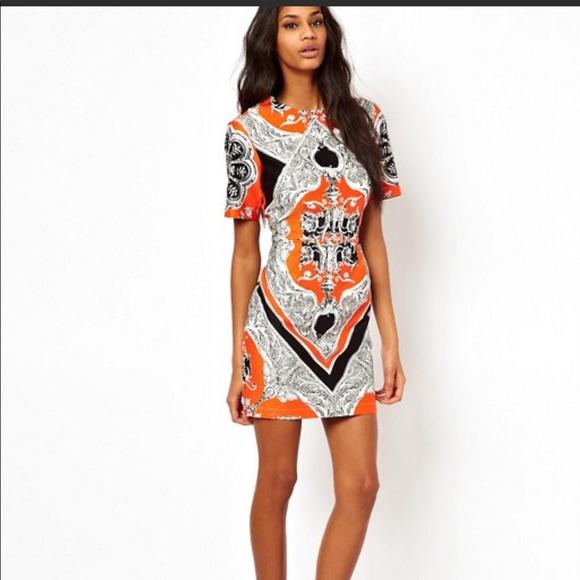 0554b15062 ASOS Dresses   Skirts - ASOS dress orange and black sz 6 geometric sheath